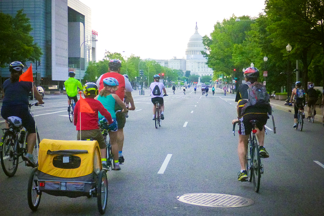 AOC group ride with Capitol in background