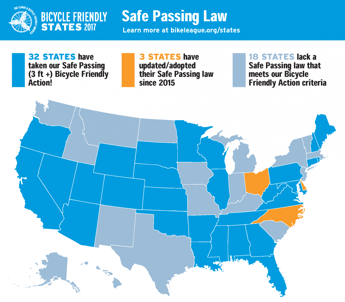 Bicycle Friendly States | League of American Bicyclists