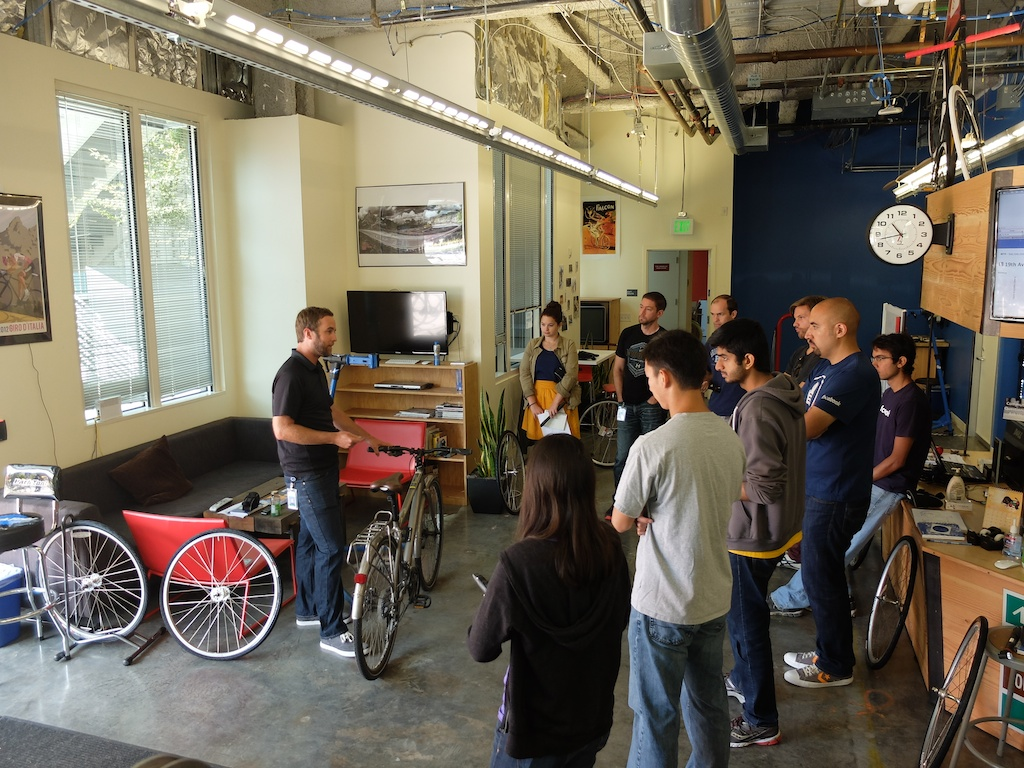 Instructors educating about bikes